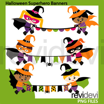 Halloween Superhero Banners Clip Art / commercial use clipart