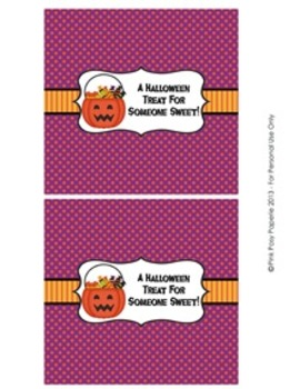 Halloween Sweet Treats Classroom Party Large Candy Bar Wrappers