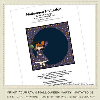 Halloween Sweetie Girl Party Invitation 1