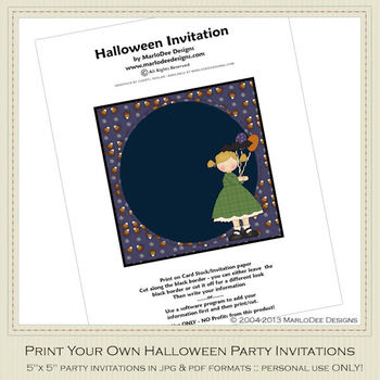 Halloween Sweetie Girl Party Invitation 2