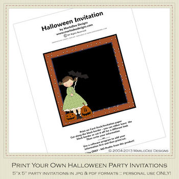 Halloween Sweetie Girl Party Invitation 3