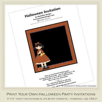 Halloween Sweetie Girl Party Invitation 4