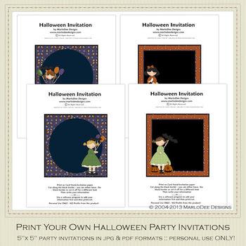 Halloween Sweetie Printable Halloween Party Invitation Set