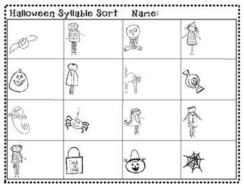 Halloween Syllable Sort (1, 2 and 3 Syllables) Recording Sheet