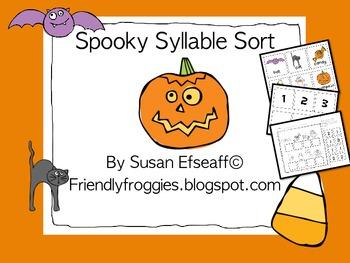 Literacy Centers - Halloween Syllable Sort