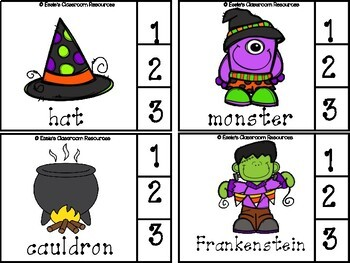 Halloween Syllables Clip Cards