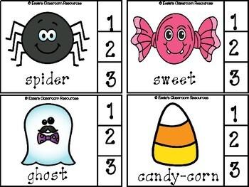 Halloween Syllables Clip Cards
