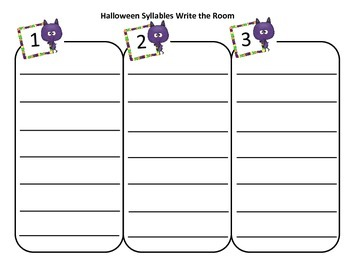 Halloween Syllables Write the Room
