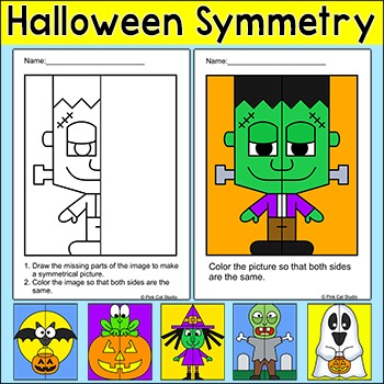 Halloween Math Symmetry Activity - Zombie, Witch, Ghost, Frankenstein, Bat