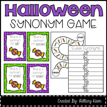 Halloween Synonym Literacy Center Task Cards