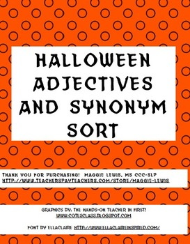 Halloween Synonym and Adjective Sort