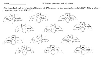 Halloween Synonyms & Antonyms Color-Code Activity