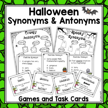 Halloween Synonyms & Antonyms - Task Cards & Games