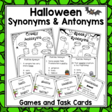 Halloween Synonyms and Antonyms - Task Cards and Games