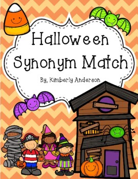 Halloween: Costume Kids and Candy Corn Synonyms Match