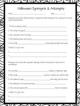 Halloween Synonyms and Antonyms
