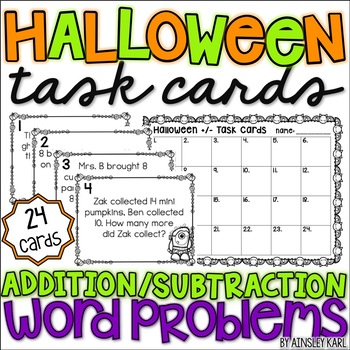 Halloween TASK CARDS {Word Problems w/in 20} Addition & Subtraction
