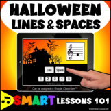 Halloween TREBLE LINES and SPACES BOOM CARDS™ Music Distan