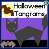 2D shapes center Halloween Tangrams