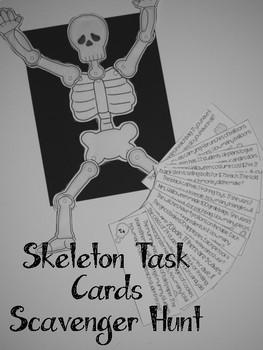 Halloween Task Card Skeleton Scavenger Hunt