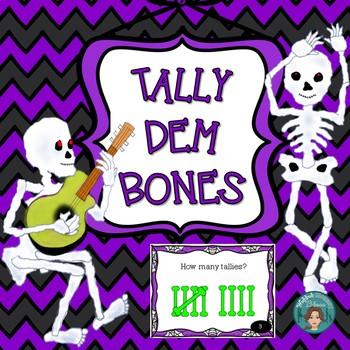 Halloween Math Task Card - Tally Dem Bones for Math Centers