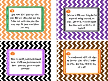 Halloween Task Cards  5.NBT.5 and 5.NBT.6