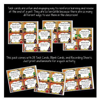Halloween Task Cards - Halloween Activities -Fall Activities {EDITABLE}