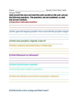 Halloween Task Cards Activity ANSWER SHEET