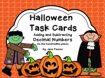{Free} Halloween Task Cards - Adding and Subtracting Decimal Numbers