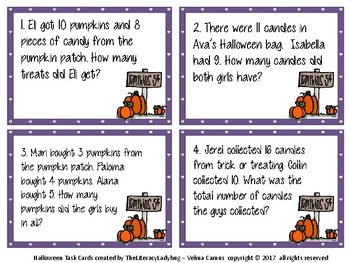 Halloween Task Cards - Addition