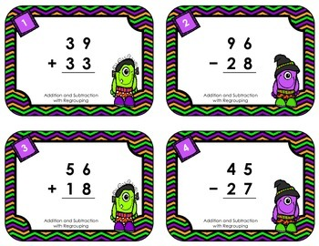 Halloween Task Cards - Addition & Subtraction with Regrouping
