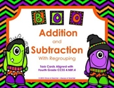Task Cards •  Addition & Subtraction with Regrouping • Halloween