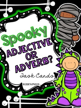 Halloween Task Cards {Adjective and Adverbs}