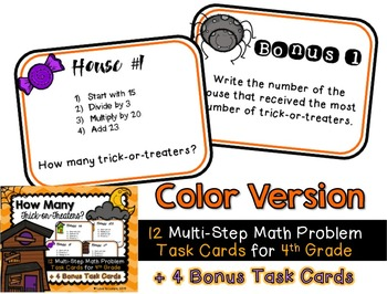 Halloween Task Cards - How Many Trick-or-Treaters? 4th Grade