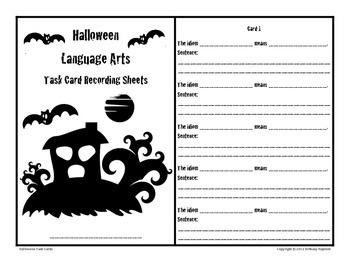 Halloween Language Arts Task Cards, aligned to CCSS