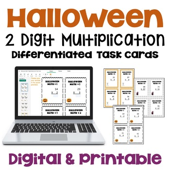 Halloween Math 2 Digit Multiplication Task Cards (Differentiated)