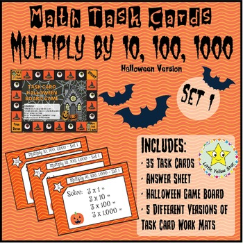 Halloween - Task Cards - Multiply by 10, 100, and 1000 {Set 1} ***Freebie***