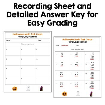 Halloween Math Multiplying Decimals Task Cards (FREE)