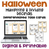 Halloween Math Multiplying and Dividing Decimals Task Cards (Differentiated)