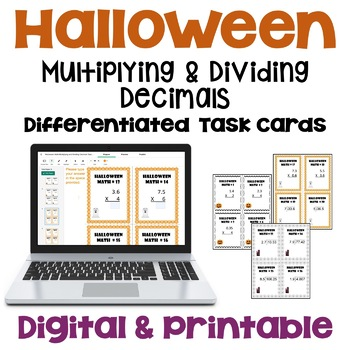 Halloween Math Multiplying and Dividing Decimals Task Cards Differentiated