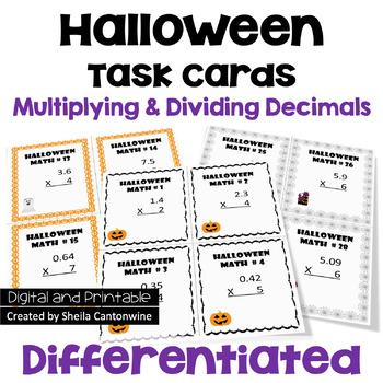 Halloween Multiplying & Dividing Decimals Task Cards (3 Levels)