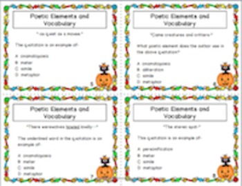 Halloween Task Cards:  Poetic Elements, Grammar, Reading