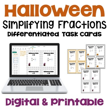Halloween Reducing Fractions to Lowest Terms Task Cards (3 Levels)
