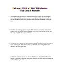 Halloween Task Cards Response Sheet