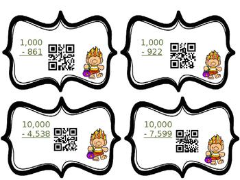 Halloween Task Cards Subtracting Across Zeros