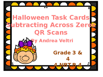 Halloween Task Cards Subtracting Across Zeros