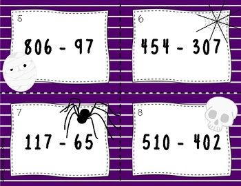Halloween Task Cards:  Subtraction with Regrouping