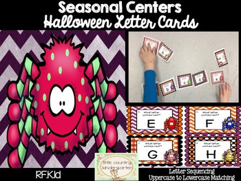 Halloween Task Cards: Uppercase and Lowercase Letter Sequencing