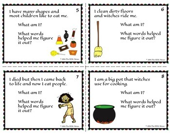 Halloween Vocabulary Words Task Cards for ELLs and Mainstream Students