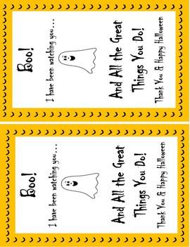 Halloween Teacher Thank You Printable